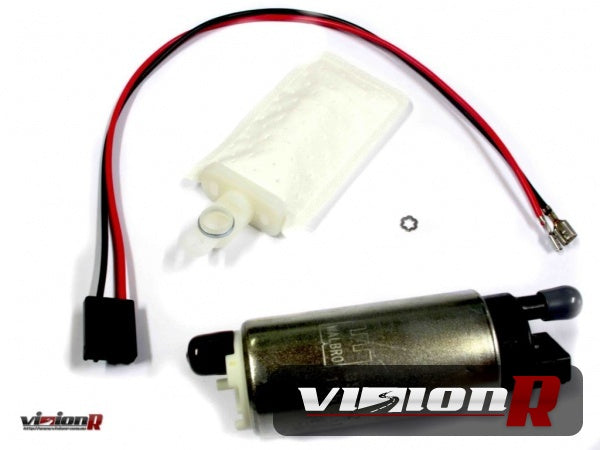 Walbro 255 Fuel Pump GSS-342 with universal strainer/filter plug harness.