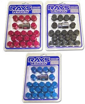 Rays Engineering standard duraluminium wheel nuts locking set of 20pcs. Blue, 12 x 1.50