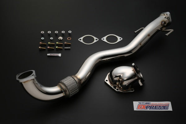 "Tomei Outlet Component V2 wide mouth dump, 3"" front pipe, heat wrap, bolt on kit."