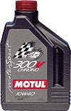 Motul 300V Chrono 10W40, 100% Synthetic, Double Ester, Exceeds all standards. 5 Litre