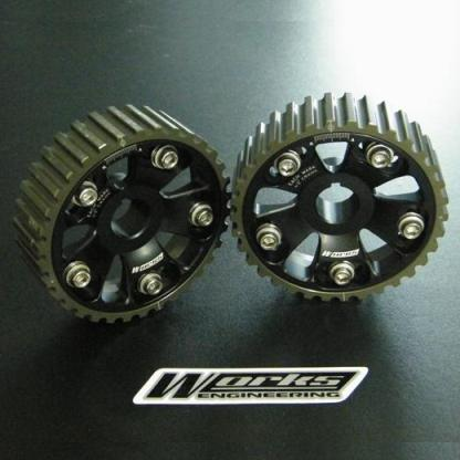Works Engineering Cam pulleys. 5 bolt design. Comes in pairs. Suit B Series Honda.