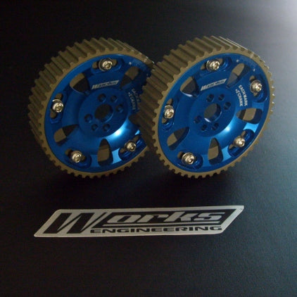 Works Engineering Cam pulleys. 5 bolt design. Comes in pairs.