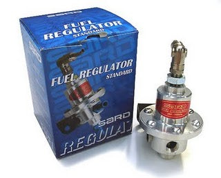 SARD fuel pressure regulator type SJ. 8mm barb fitting Silver.