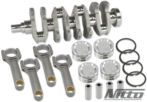 Nitto 2.7L stroker kit billet crank, Billet I beam rods, JE/Nitto Piston kit.