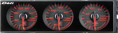Defi Din Gauge Black Face, amber red. Includes all sensors for direct fitment.