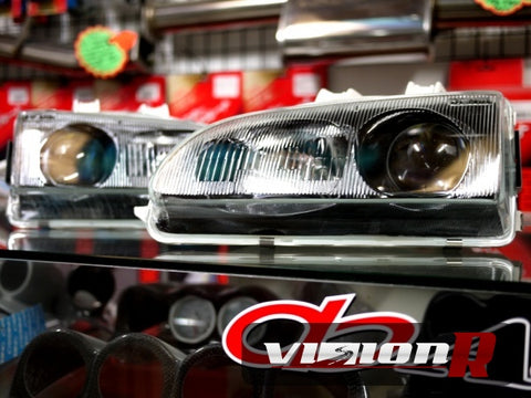 DENJI projector headlamps. Glass lens. Sold as pairs