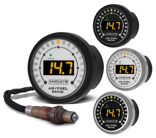 MTX-L: Complete All-In-One Air/Fuel Ratio 52mm Gauge Kit. Comes with silver and black bezel with whi