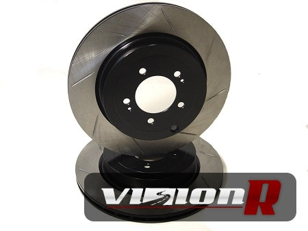 1-piece Rear Brake Rotor. Slotted, lightened, e-coated. Suit 06-07 WRX. Sold in pairs