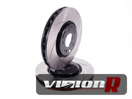 1-piece Front Brake Rotor. Slotted, e-coated, curve vane design. Sold in pairs