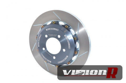 2pce Rear Slotted floating type rotor made from cast iron with curve vane design. Sold as pairs