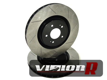 1-piece Front Brake Rotor. Slotted, lightened, e-coated. Suit 01-11 WRX. Sold in pairs
