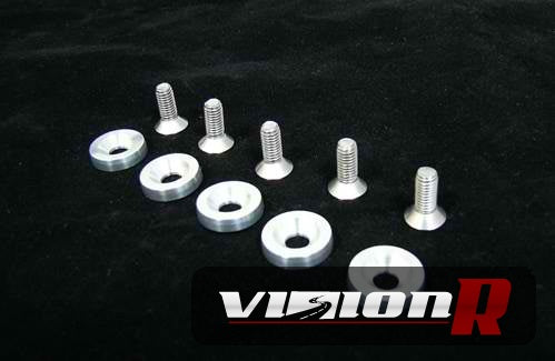 BWR washer bolt kit. CNC machined 6061-t6 aluminium. 5 washers and 5 stainless 10mm bolts.
