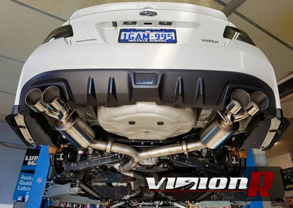 "Unknown Performance V2 Cat back Exhaust system. Full 3"" piping, 4"" Dual Polished Double wall Tips."