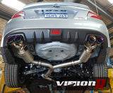 "Unknown Performance V2 Cat back Exhaust system. Full 3"" piping, 4"" Dual Burnt Double wall Tips."