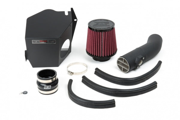 Grimmspeed intake kit with enclosed box including red intake pipe and filter. Made in USA