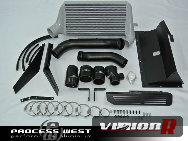 Process West Verticooler intercooler kit including duct and parts for bolt on fitment. Silver Core