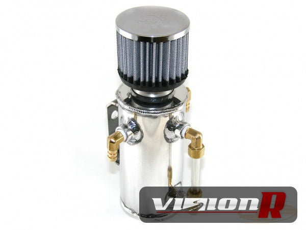 Universal Deluxe Oil Catch Tank polished with hose on brass fittings.