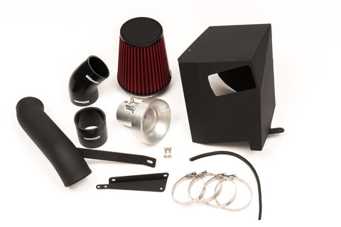 Unknown Performance Intake kit with air box increases air flow through a dry flow air filter while shielding hot air from intake. Includes CNC velocity stack, air box, piping,  filter, couplers, hose clamps and extended MAF harness.