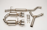 "Unknown Performance V2 Cat back Exhaust system. Full 3"" piping, 4"" Dual Polished single wall Tips."