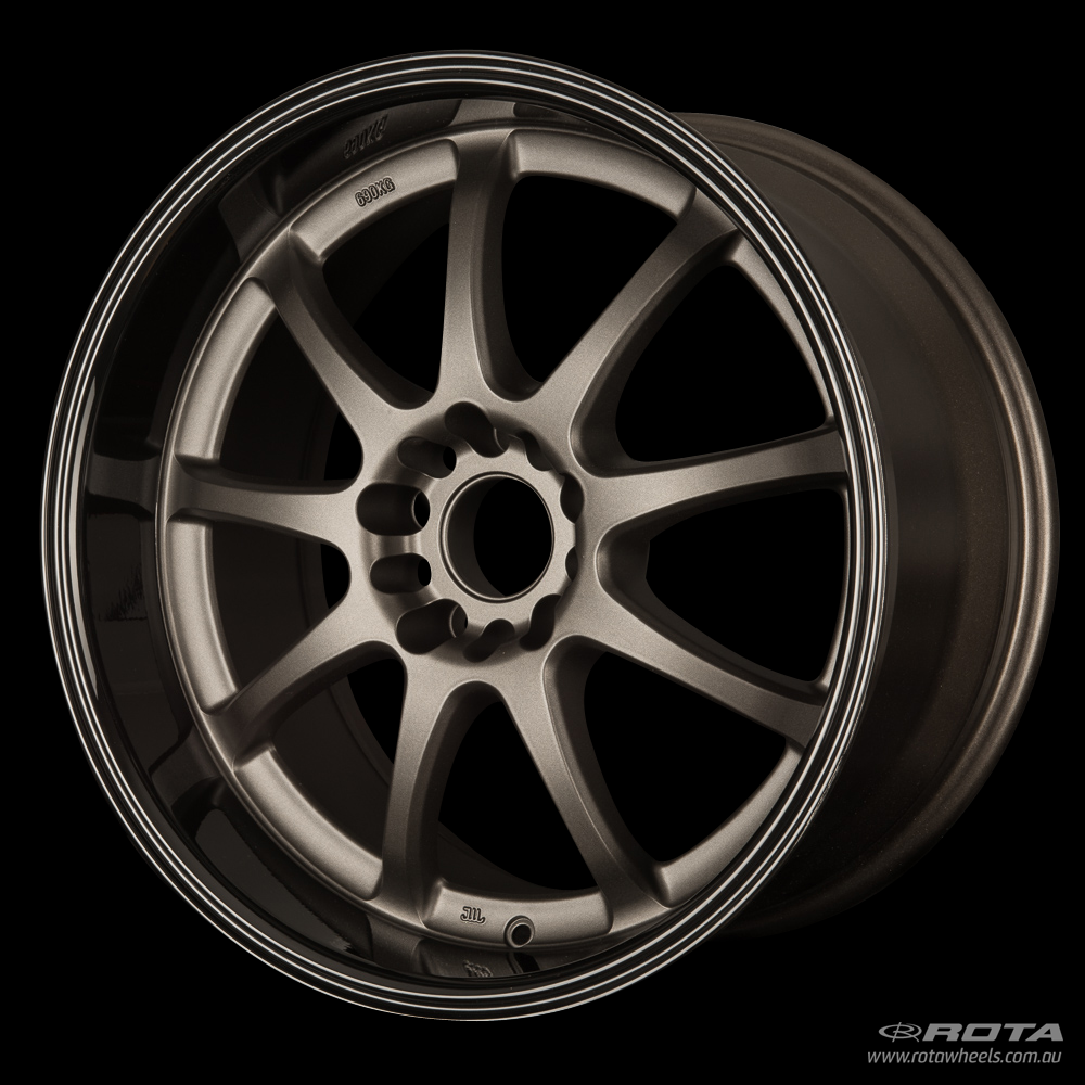 ROTA P1R 18 x 9.5, 5x100 +38 Matt Gun Metallic / Gloss Black Lip
