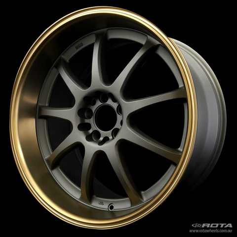 ROTA P1R 18 x 9.5, 5x114.3 +35 Matt Gun Metallic / Bronze Lip