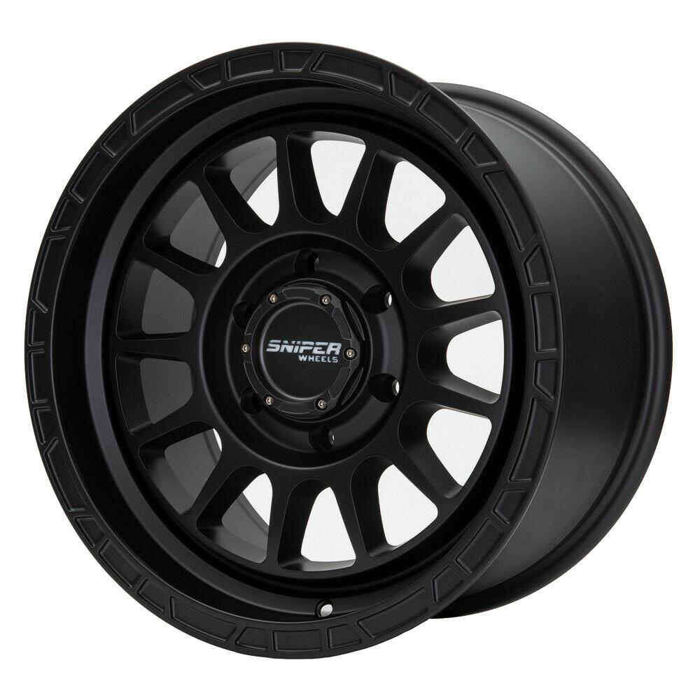 SNIPER WHEELS BALLISTIC 17 x 9, 6x139.7, +15 Matt Black set 4pcs with caps. Load rated 1250kg per wheel.