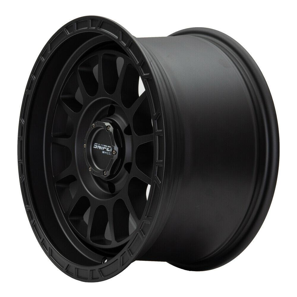 SNIPER WHEELS BALLISTIC 17 x 9, 5x150, +25 Matt Black set 4pcs with caps. Load rated 1250kg per wheel.