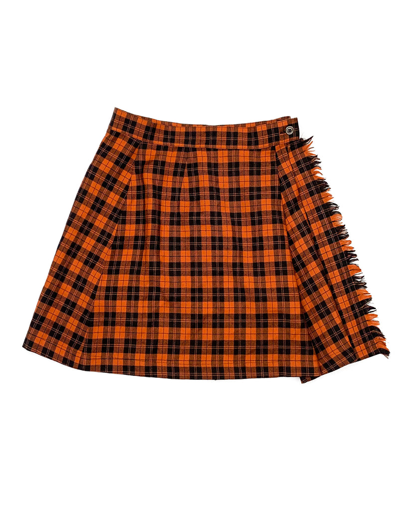ORANGE CHECK WRAP KILTED SKIRT