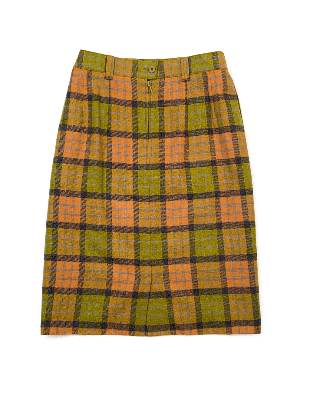 ORANGE AND GREEN WOOL PENCIL SKIRT