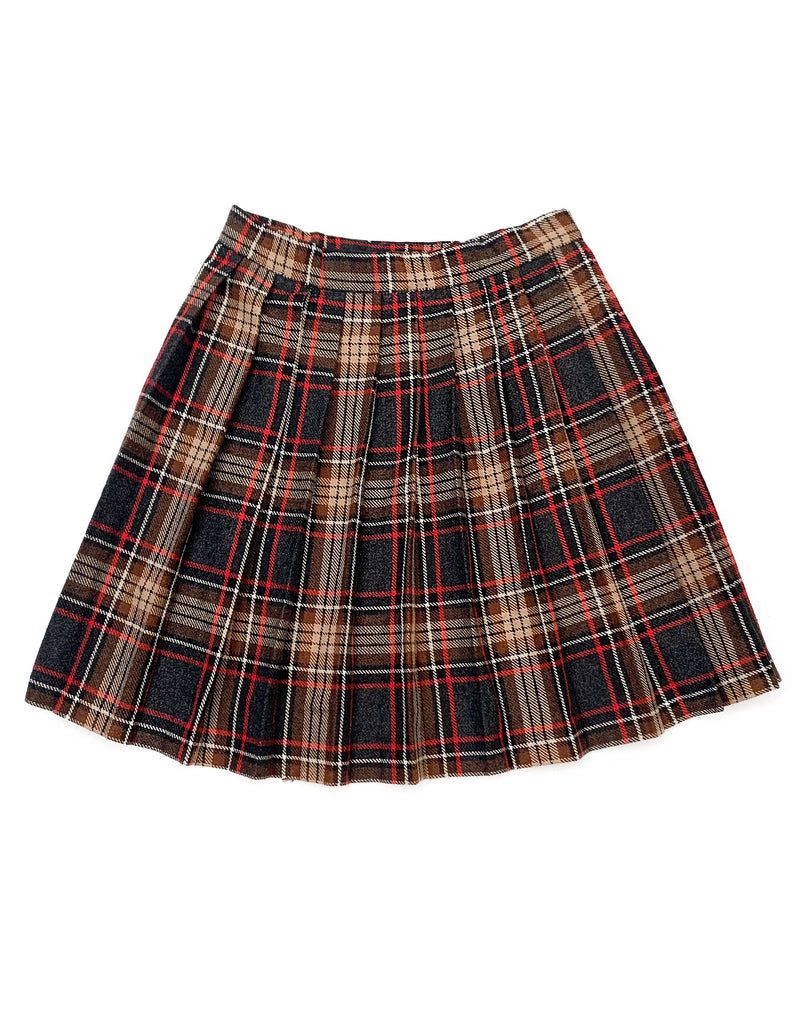BROWN AND RED PLEATED MINI SKIRT