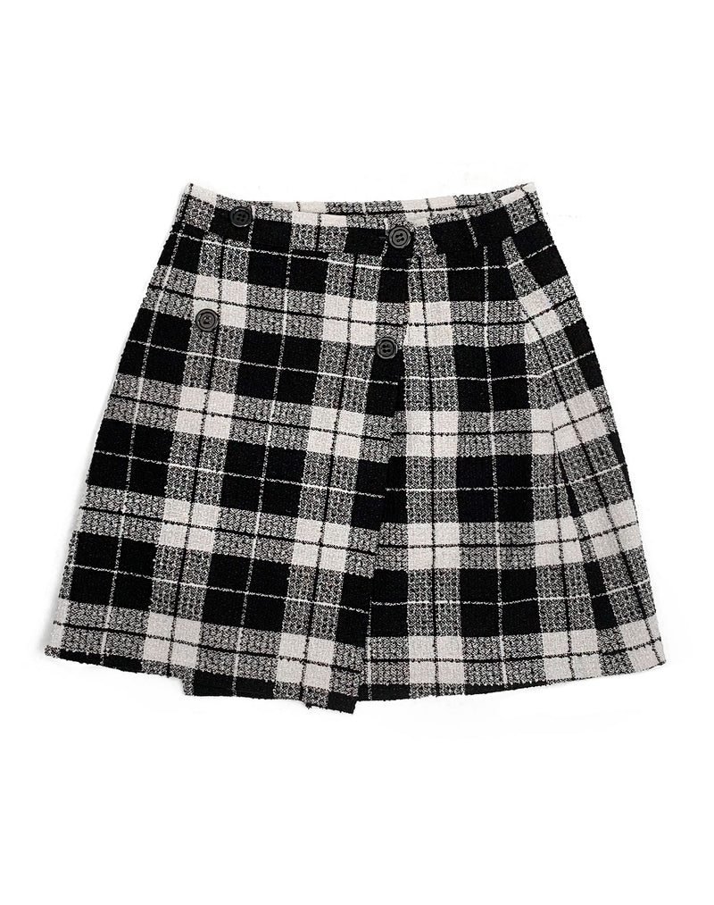 BLACK BUTTON FRONT SUEDETTE MINI SKIRT