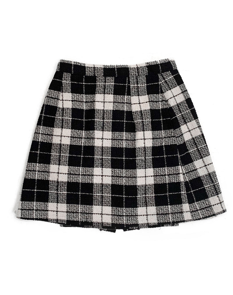 BLACK AND WHITE BUTTONED CHECK SKIRT