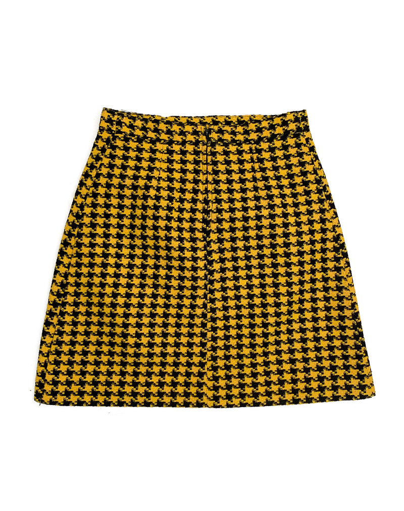 BLACK AND YELLOW HOUNDSTOOTH MINI SKIRT