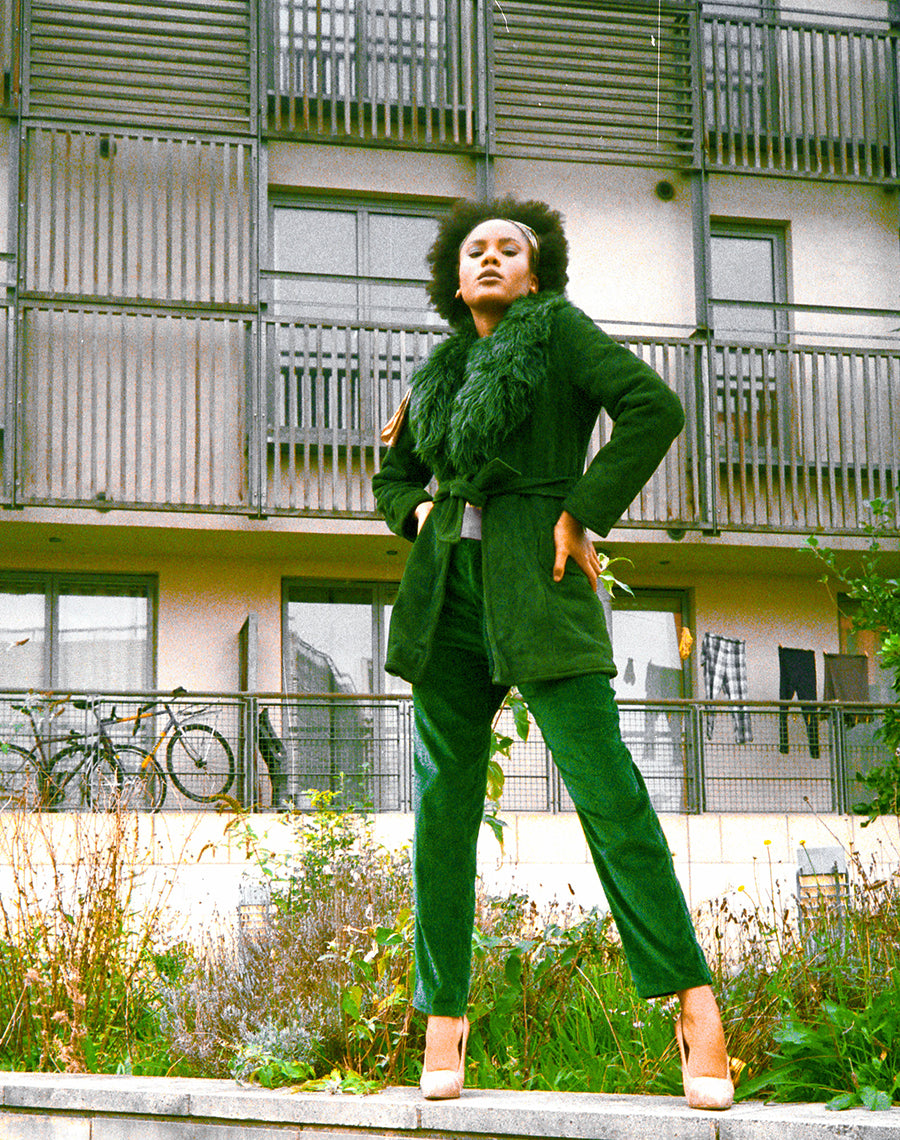 GREEN FAUX FUR LINED COAT