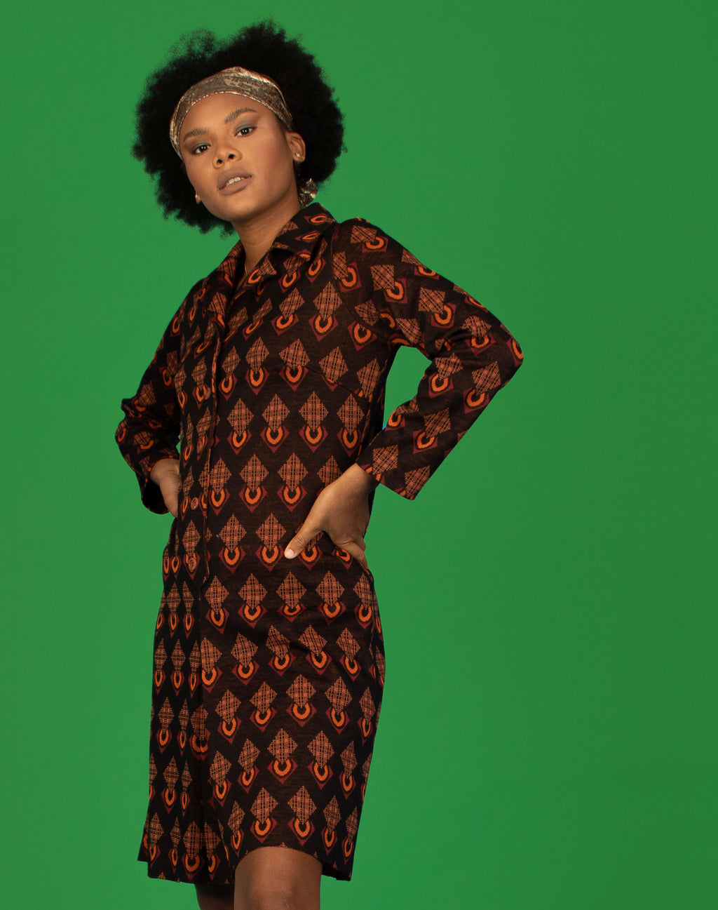 IKAT MIDI SHIRT DRESS