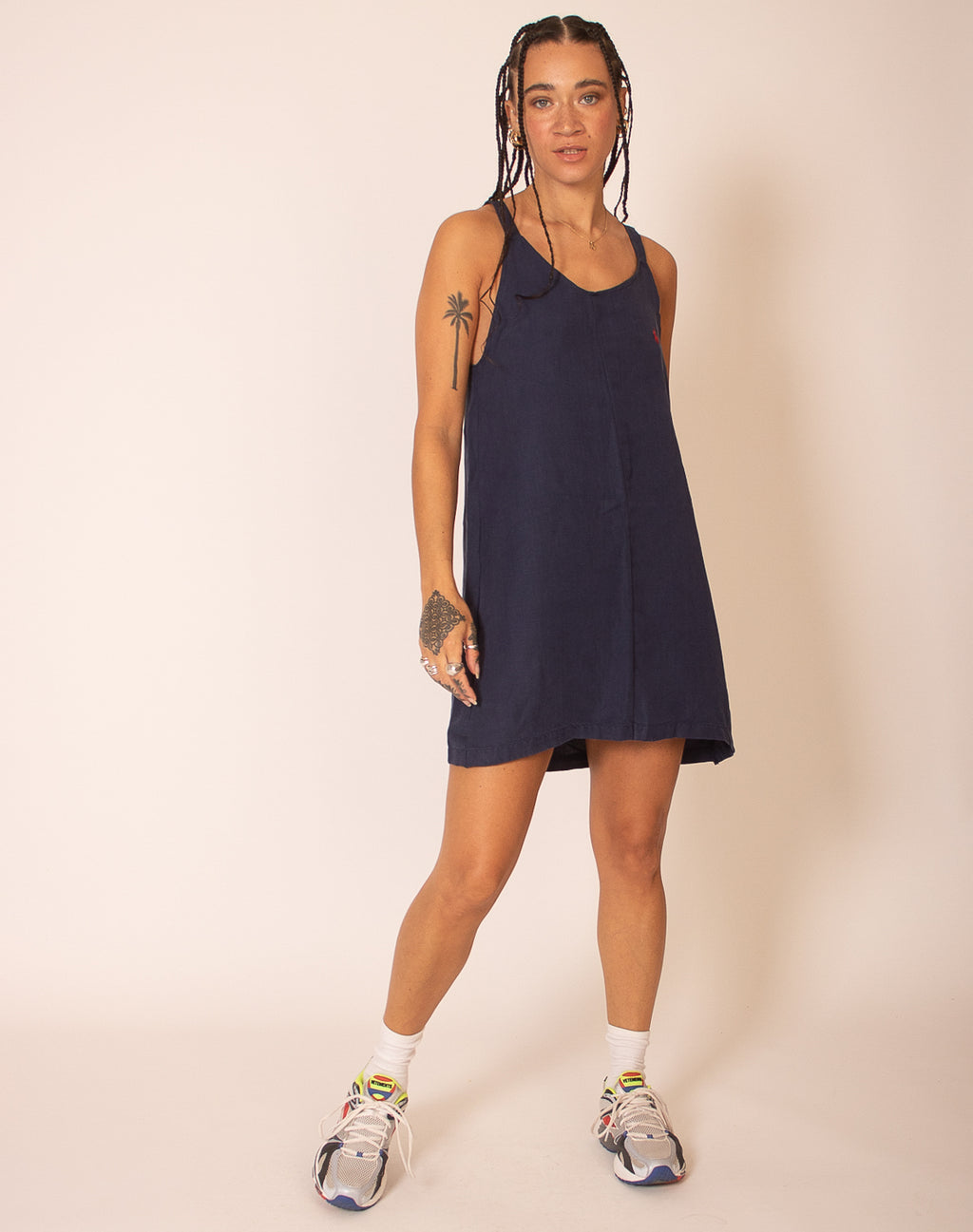 RALPH LAUREN NAVY BLUE OLLIE SLIP DRESS
