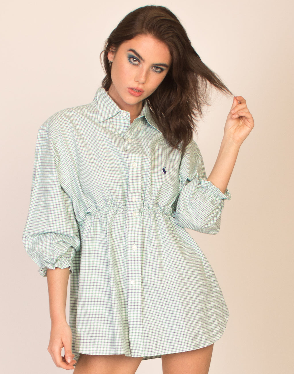RALPH GREEN CHECK HANNAH SMOCK DRESS