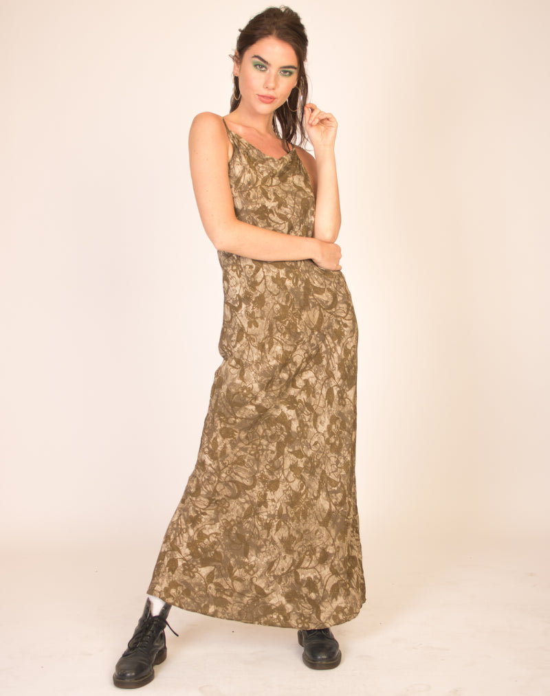 KHAKI ABSTRACT MAXI DRESS