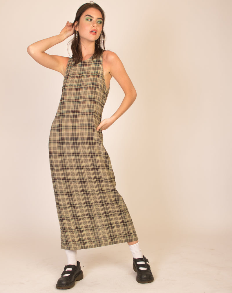 CALVIN KLEIN CHECK MAXI DRESS
