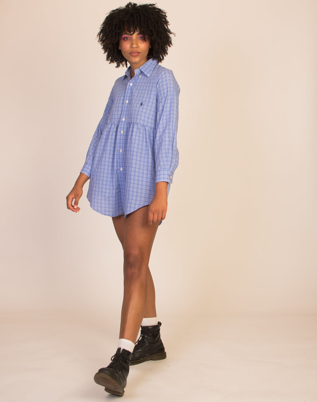 RALPH ROXY BLUE CHECK SMOCK DRESS