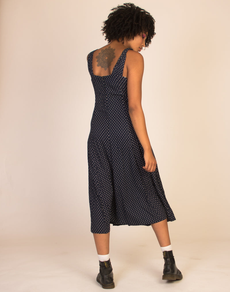 POLKA DOT NAVY BLUE DRESS