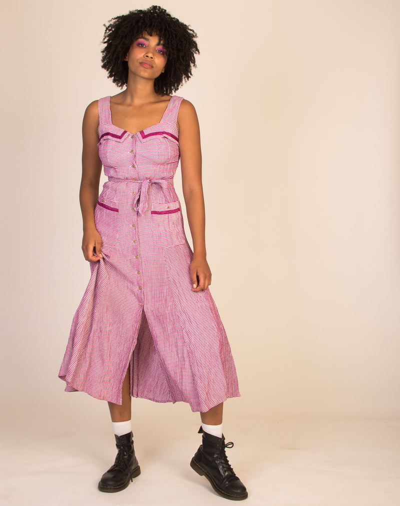 PINK 60's GINGHAM MAXI DRESS