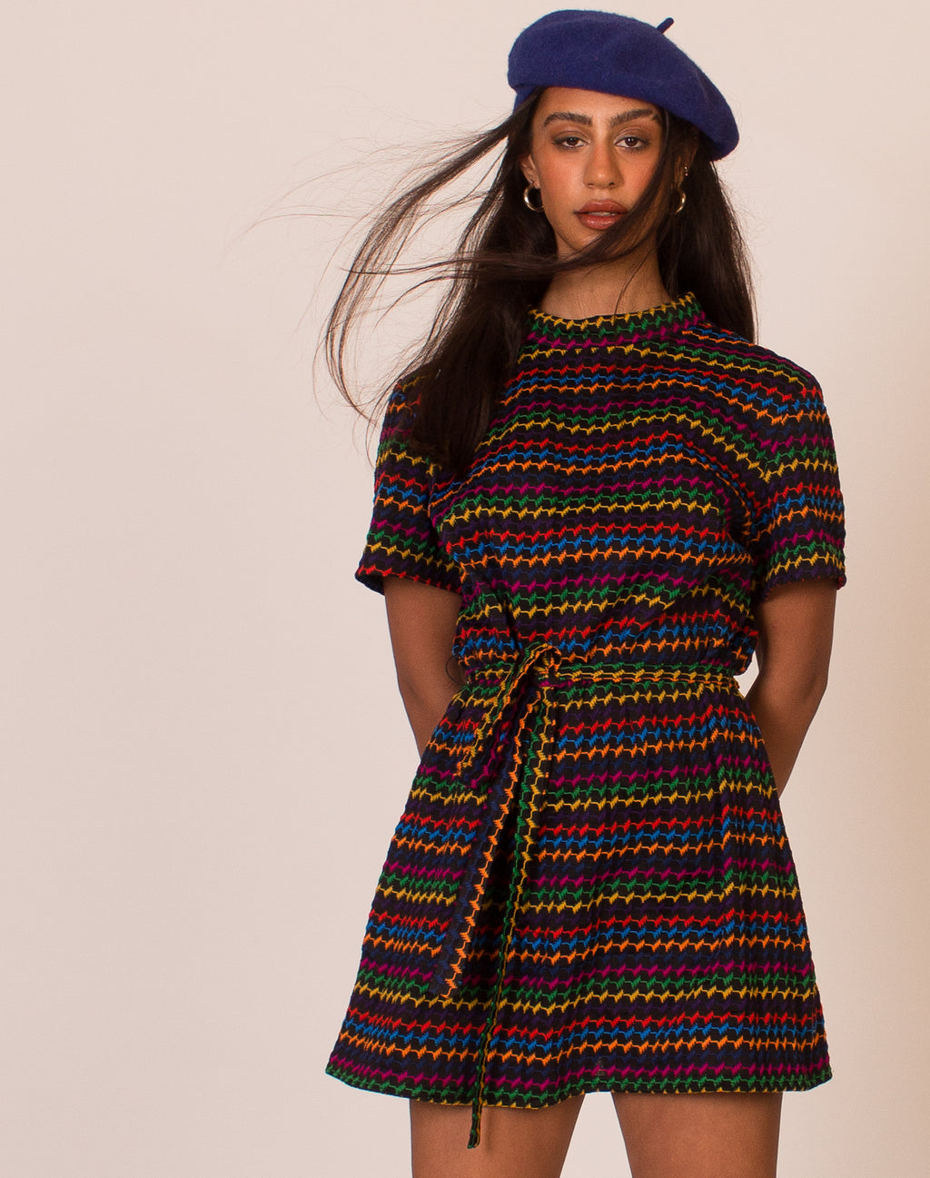 RAINBOW HIGH NECK 60s DRESS