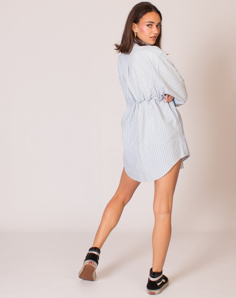 RALPH BLUE PINSTRIPE HANNAH SMOCK DRESS