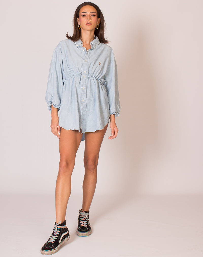 RALPH LIGHT BLUE HANNAH SMOCK DRESS