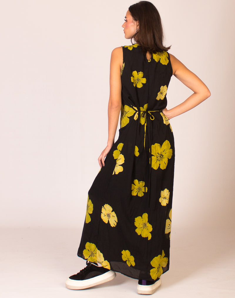 BLACK AND GREEN FLORAL MAXI DRESS