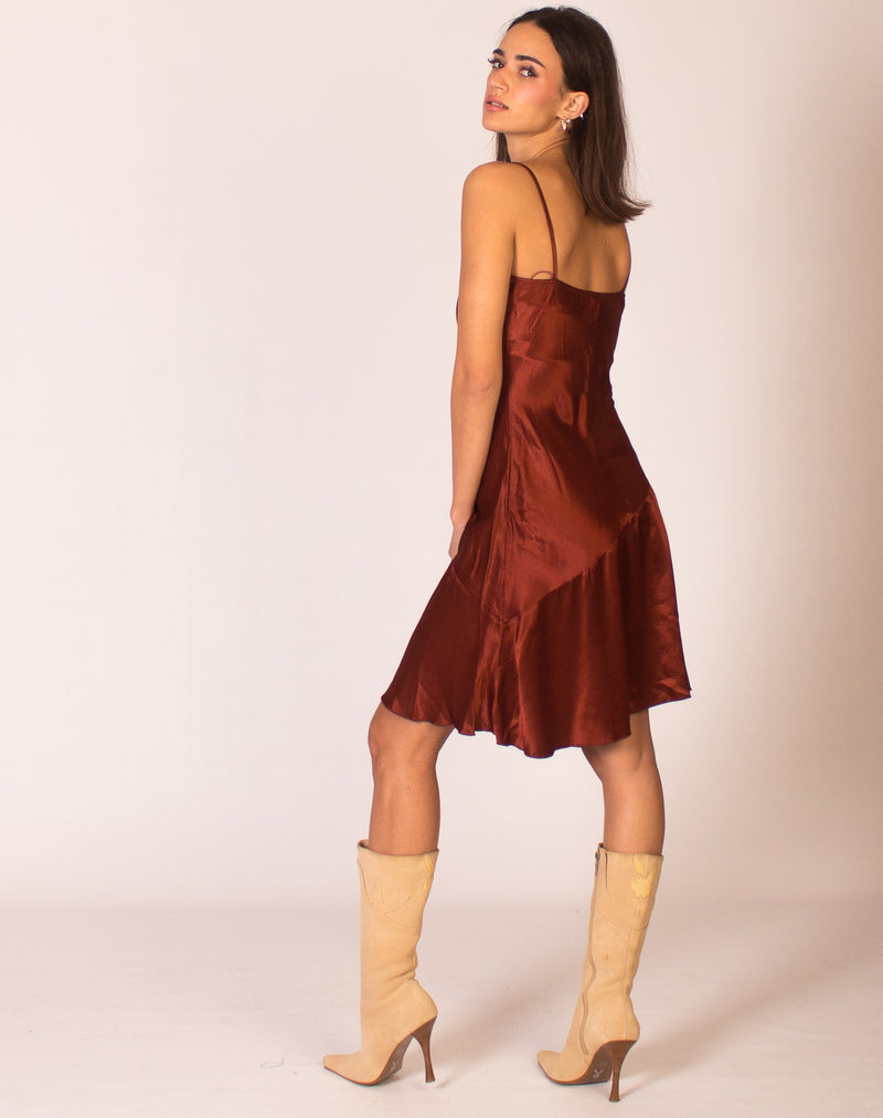 BRONZE SATIN SLIP DRESS