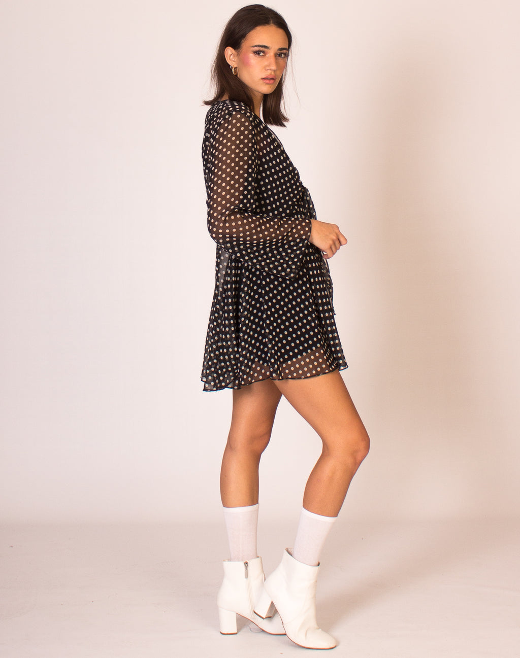 BELL SLEEVE POLKA DOT MINI DRESS