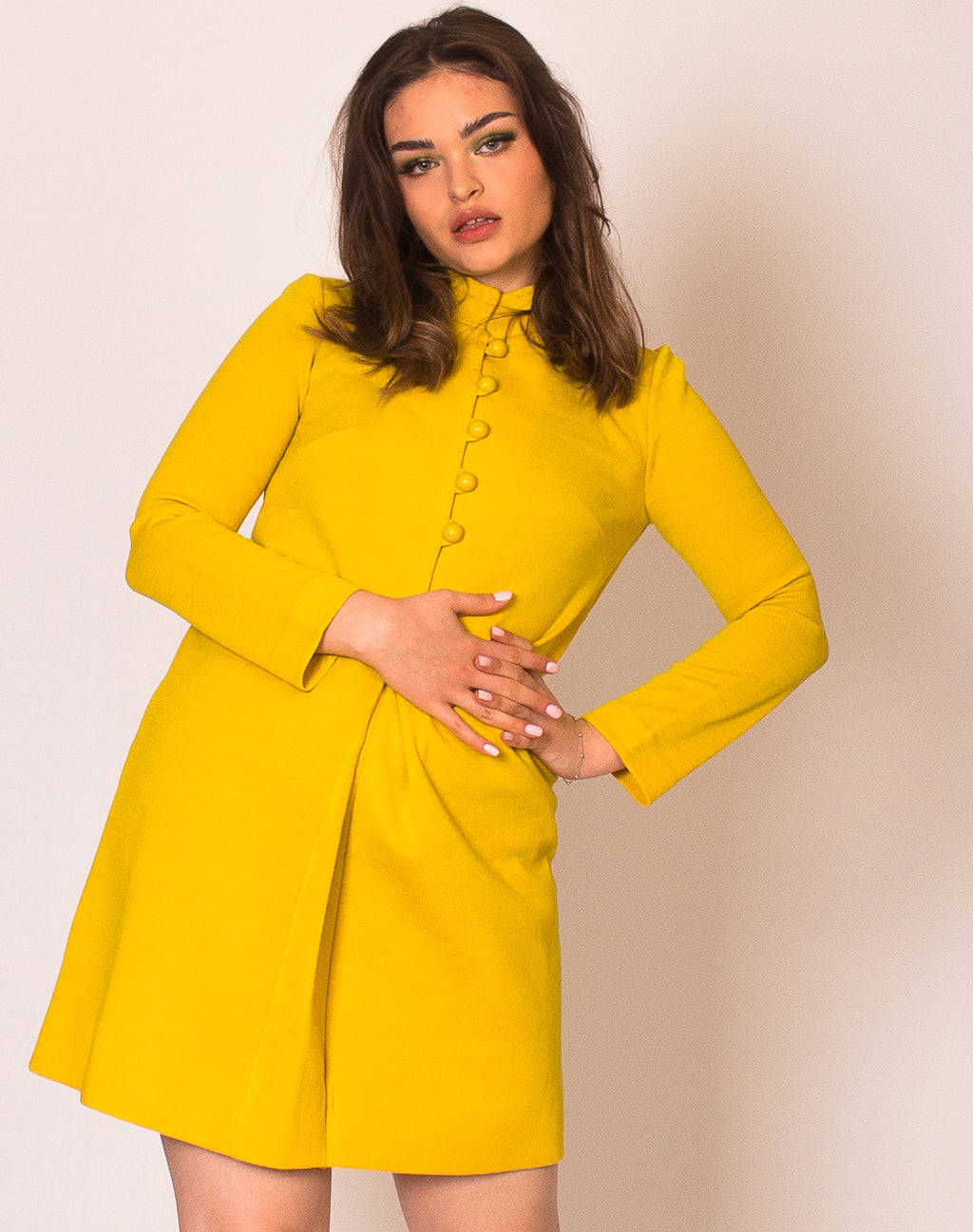 YELLOW MANDARIN COLLAR DRESS