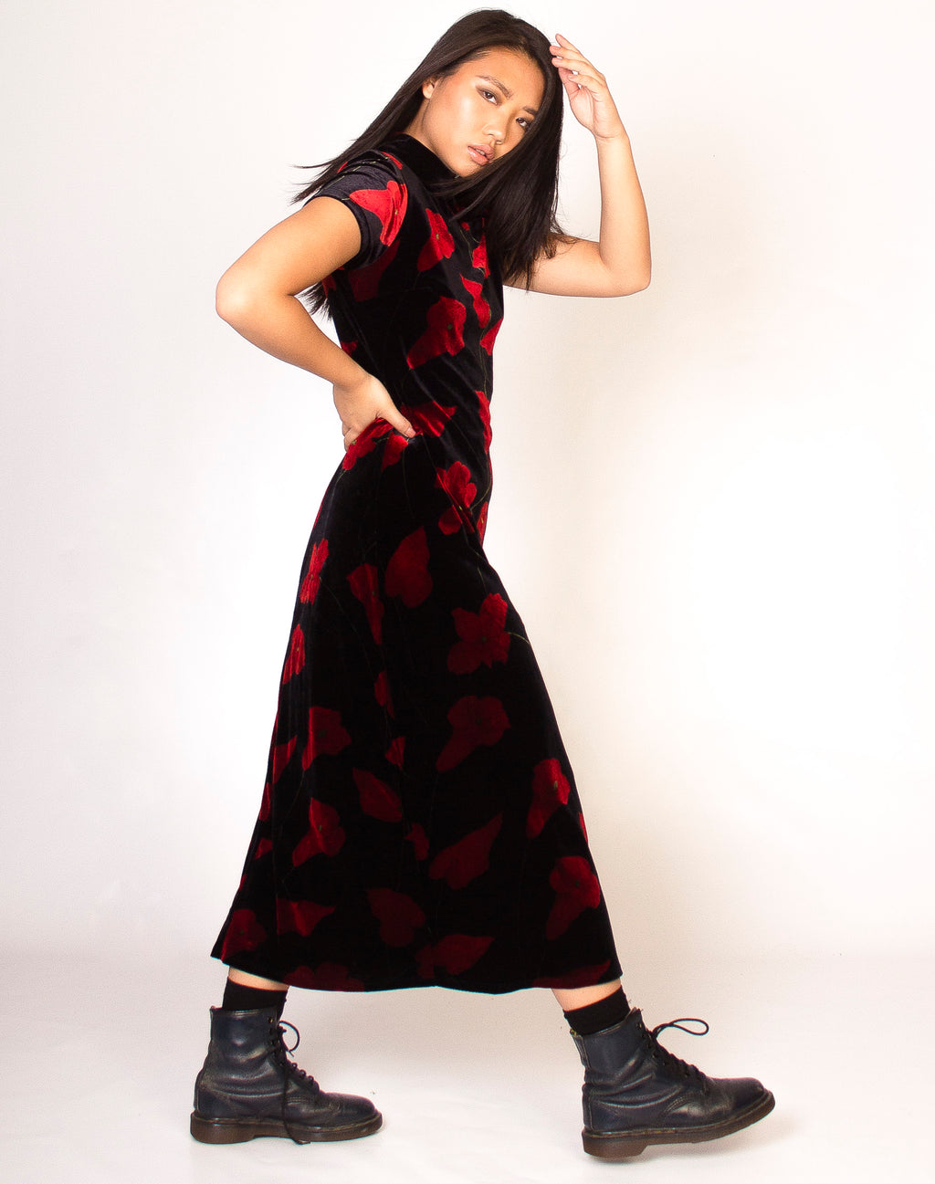 BLACK AND RED FLORAL HIGH NECK MAXI DRESS